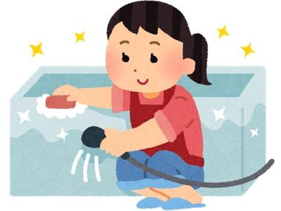 風呂掃除をする主婦